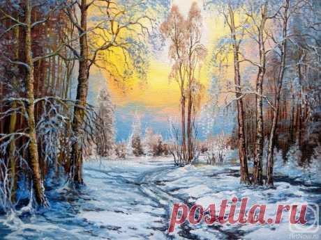 «Зимний вечер» картина Кораблевой Елены маслом на холсте — заказать на ArtNow.ru