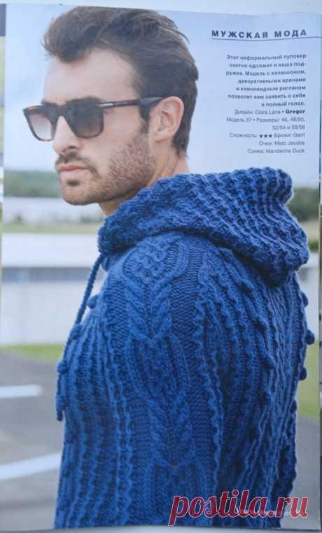 Мужской пуловер с капюшоном. Видео урок.