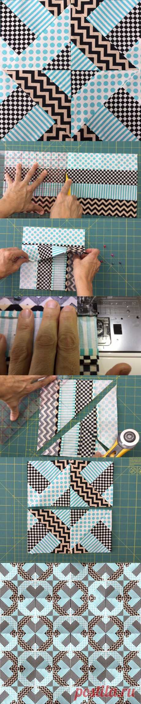 """Quick and easy """"Doubly striped Half Square Triangle block"""""""
