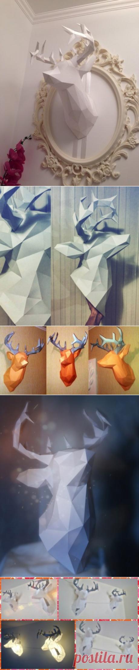 Паперкрафт олень, макет и развертка головы оленя