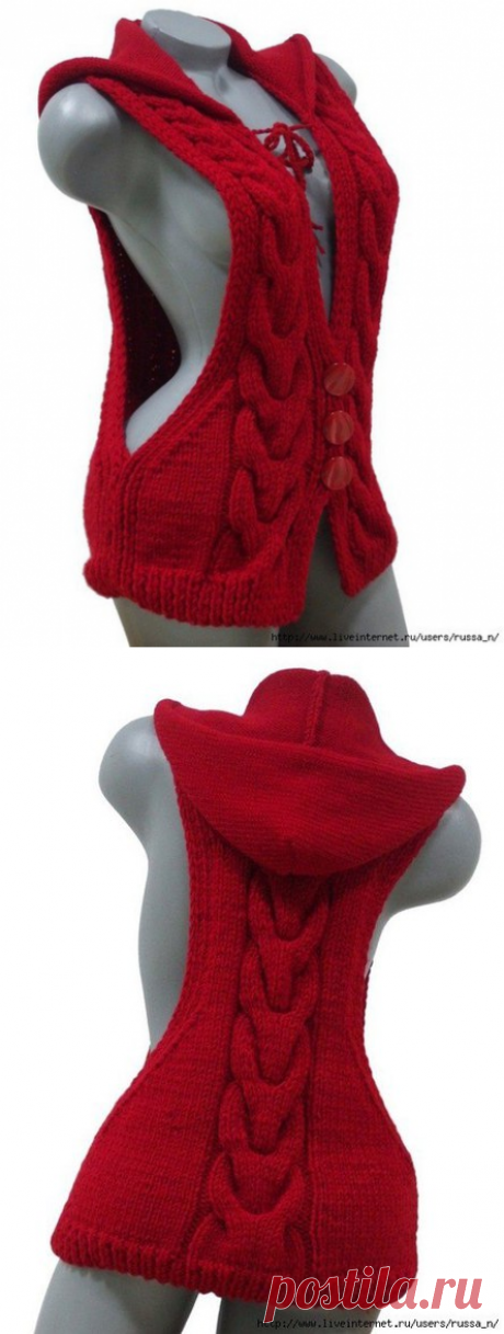 Рукоделие (Вязание, шитье, вышивка)ЖИЛЕТ С КАПЮШОНОМ