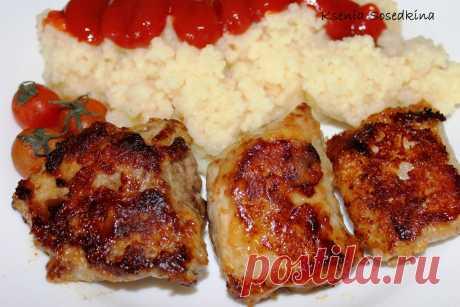 La carne en el rebozo de mostaza.