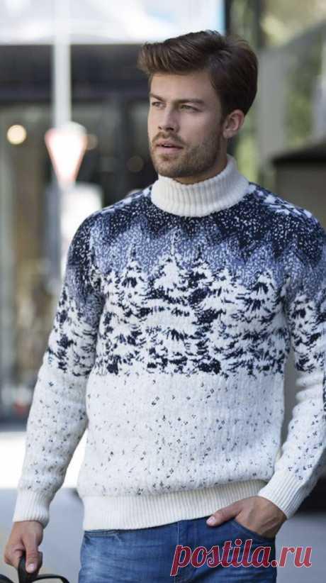 Купить мужской свитер с елками Pulltonic. Фото свитера, размеры, состав и цена. Подарок мужчине на новый год