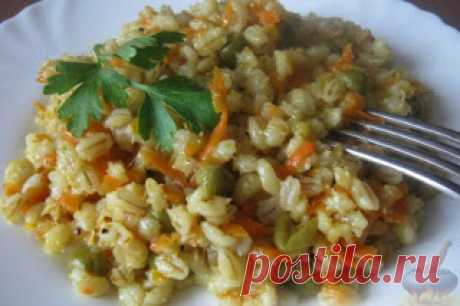 PEARL BARLEY WITH VEGETABLES \u000a\u000aIngredients: • pearl barley of 1 stak of N • 1 tomato • 1 carrot • peas of 250 g • sunflower oil of 3 tablespoons • salt and spices to taste • water 5 stakanovprigotovleniye:1. It is good to wash out pearl barley. In …