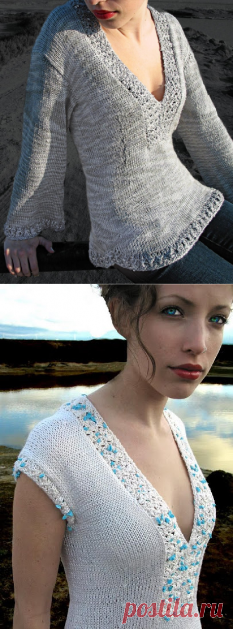 Sahara jumper from Stitch Diva Studios (in three options of execution: without sleeves, with short sleeves, with long sleeves). Spokes. All sizes. \/ Discussion on LiveInternet - the Russian Service of Online Diaries