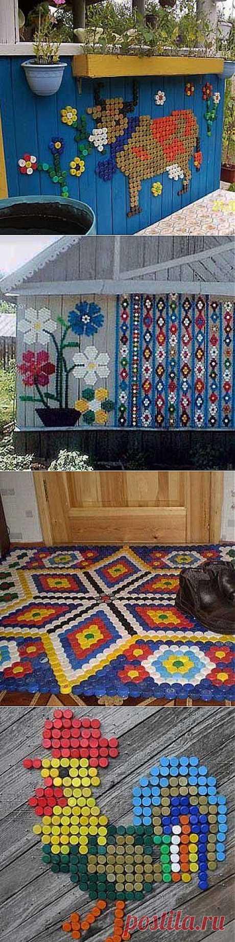 Идеи для дачи своими руками: Мозаика из пластиковых крышек.