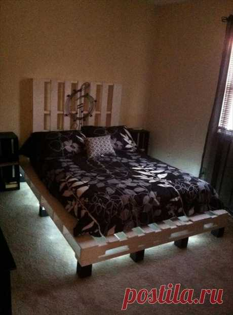 Оригинальные кровати из паллет с подсветкой / Я - суперпупер