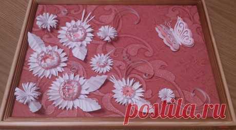 Поделки в технике бумагопластика очень разнообразны, предлагаем сделать картину из цветов, а цветы из бумаги изготовим своими руками.