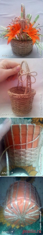 Плетение корзинки из шпагата для подарков к 8 марта. Мастер-класс