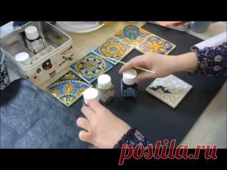 Роспись керамической плитки витражными красками видео урок Александры Канарейкиной