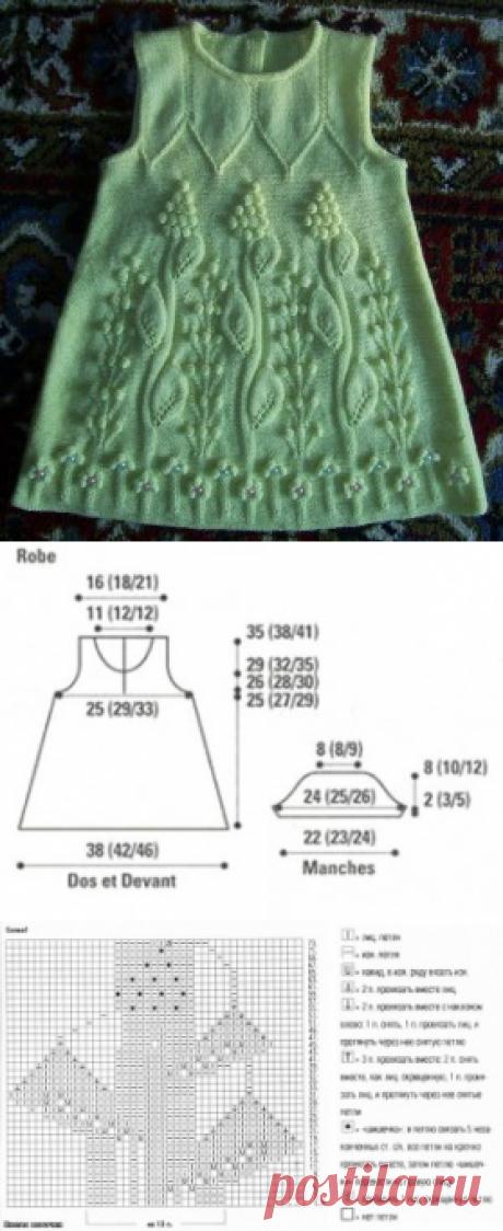 El vestido infantil tejido   la Labor de punto por los rayos y el gancho – el Alfabeto de la labor de punto