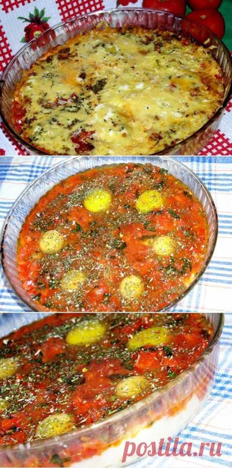 Запеканка как пицца из картофеля, яиц и сыра с томатами — Хозяюшка