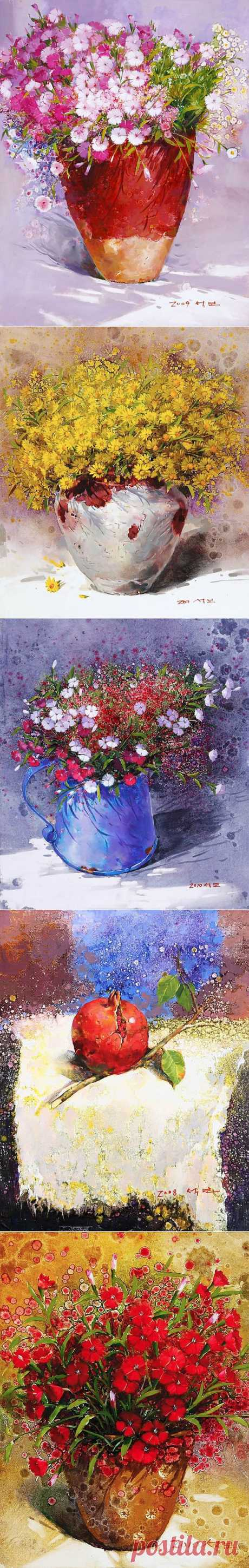 Корейский художник Yi Seong-bu. Натюрморт с цветами | Usenkomaxim.ru