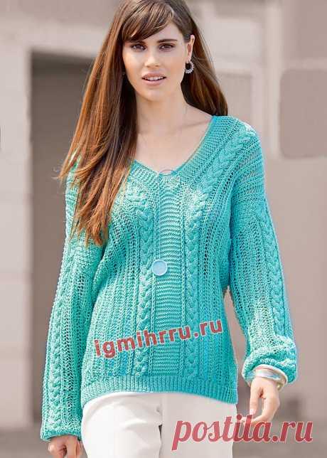 Бирюзовый хлопковый пуловер с миксом узоров. Вязание спицами со схемами и описанием
