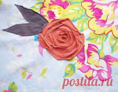 Аппликация розы - цветы из ткани / Цветы из ткани своими руками и вязанные крючком. Заколки для волос / Ёжка - стихи, загадки, творчество и уроки рисования для детей