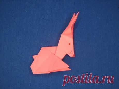 Кролик из бумаги оригами  Бумажный кролик  Paper rabbit origami Бумажный зайчик Заяц из бумаги