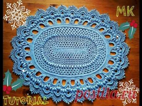 Овальный ковер из шнура 1-2 ряды Oval crochet rug rows 1-2