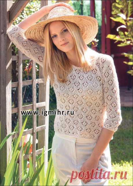 Ажурный летний пуловер кремового цвета. Спицы