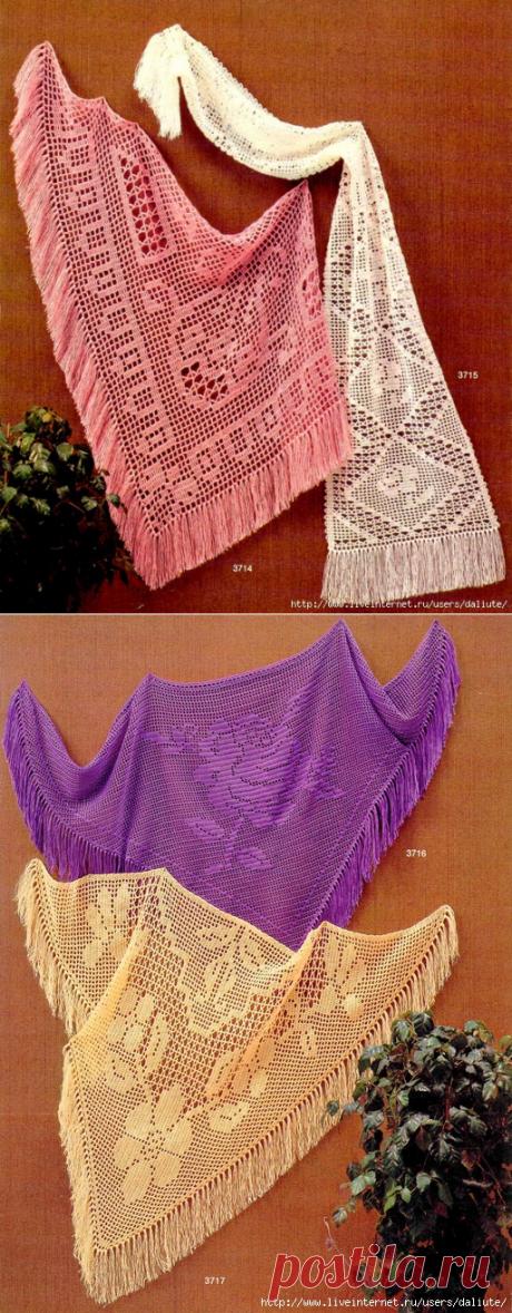 Вязание-крючок-Накидки и Пончо и Шали >Филейные шали.