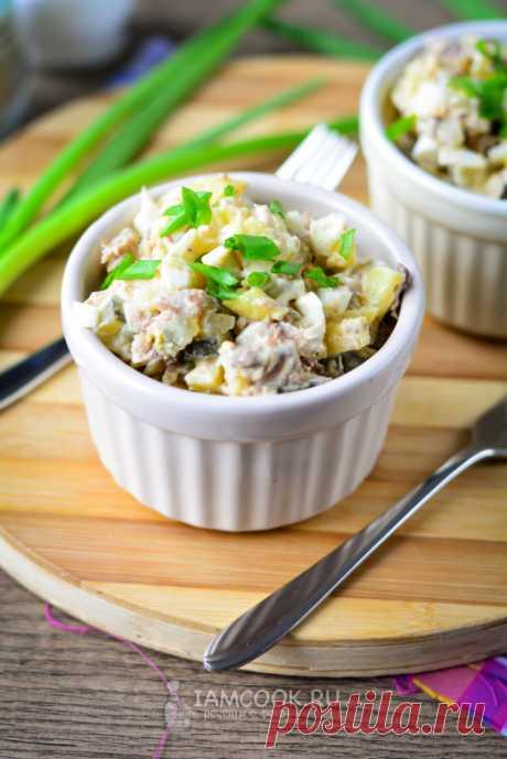 Салат из рыбных консервов с картошкой и яйцом — рецепт с фото пошагово
