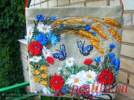 Сумки вышитые лентами - Красивые шедевры от мастеров рукоделия
