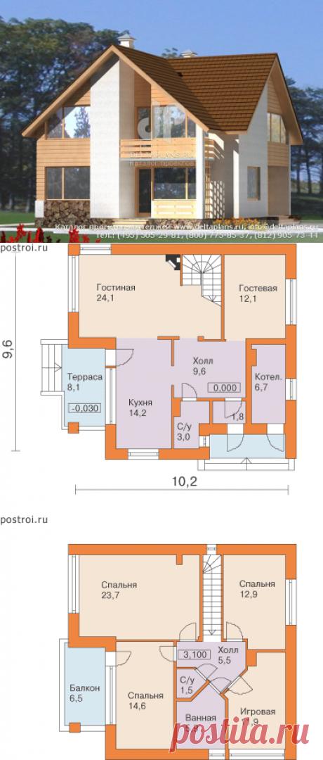 Мансардный 2 этажный дом № D-150-1P [F-1129-0]