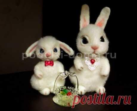 Валяный зайчик - игрушка на Пасху своими руками, мастер-класс