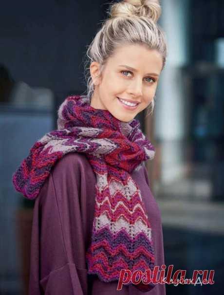 Вязание для женщин спицами - шарф с зубчатыми узорами, схемы с описанием вязания