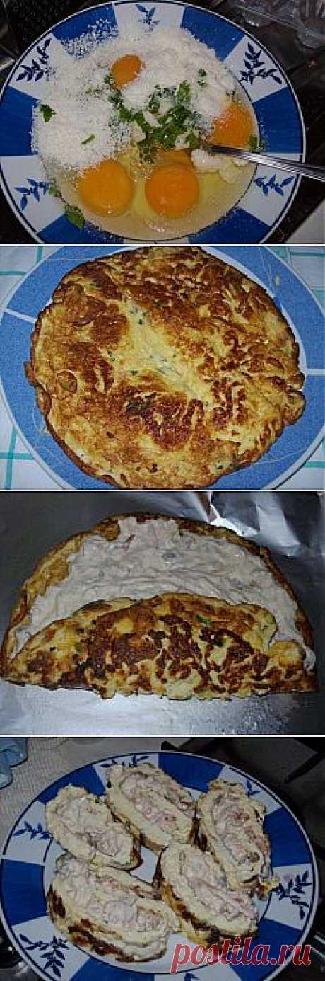 Рулет из омлета с начинкой— оригинальная закуска! © Кулинарный блог #Рецепты Надежды