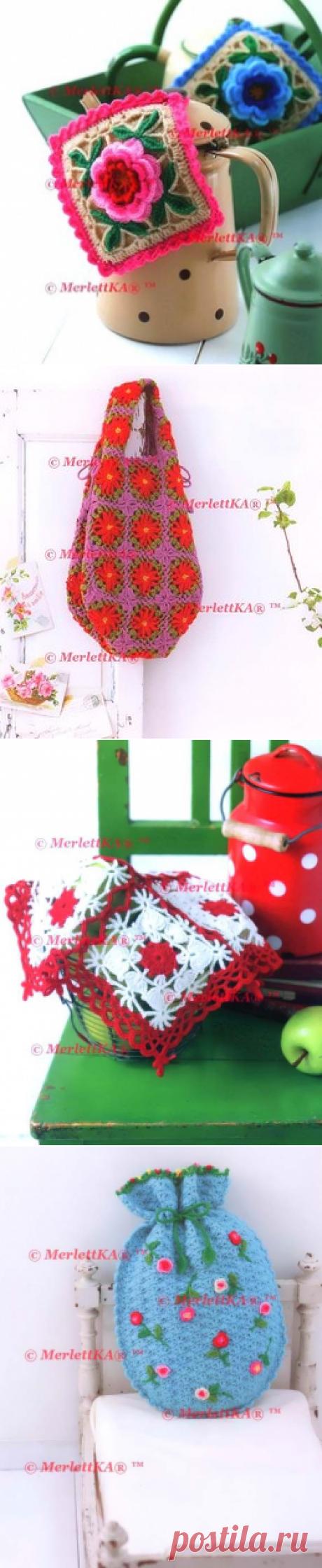 🍓 бабушкин квадрат, цветы и сумки