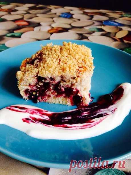 Быстрый пирог с ягодами и песочной крошкой (штрейзелем) - Foodclub — кулинарные рецепты с пошаговыми фотографиями