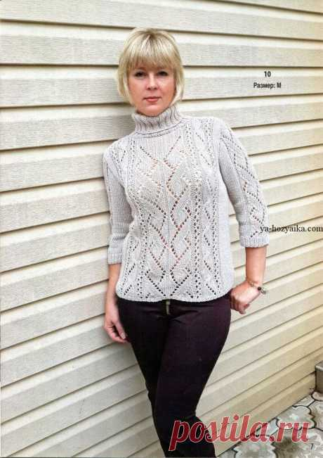Пуловер спицами с ажурными вставками. Схемы, описание вязания модного женского пуловера спицами