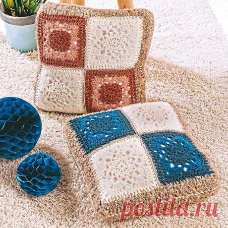 Вяжем крючком подушки из ажурных квадратов. Схема вязания  #вязание_крючком  #схема_вязания