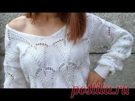 Модный свитер спицами. Вяжем V образную горловину. Подробный МК.