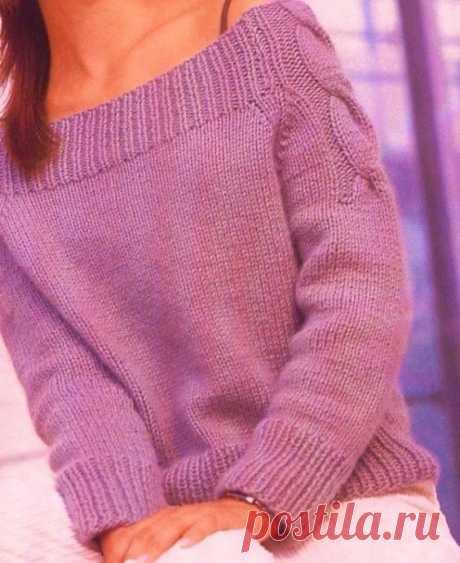 Пуловер с открытыми плечами из категории Интересные идеи – Вязаные идеи, идеи для вязания