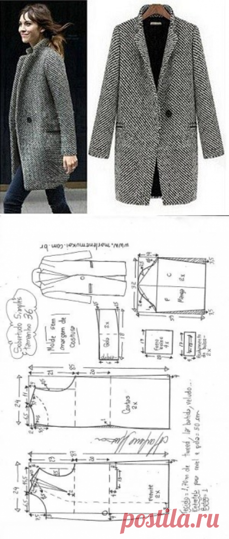 Простая выкройка пальто с 38 по 58 размер.- Marlene Mukai