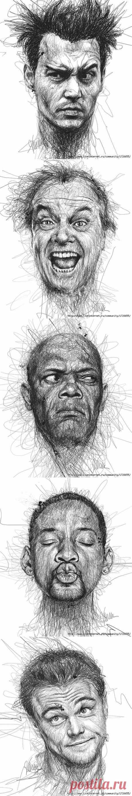 Дислексия и Художник.... Художник Винс Лоу нарисовал изумительные портреты знаменитостей при помощи обычного детского карандаша. При том, что мастер с детства страдал дислексией.