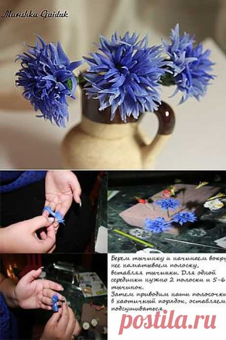 Василек (лепка холодный фарфор) - Ярмарка Мастеров - ручная работа, handmade