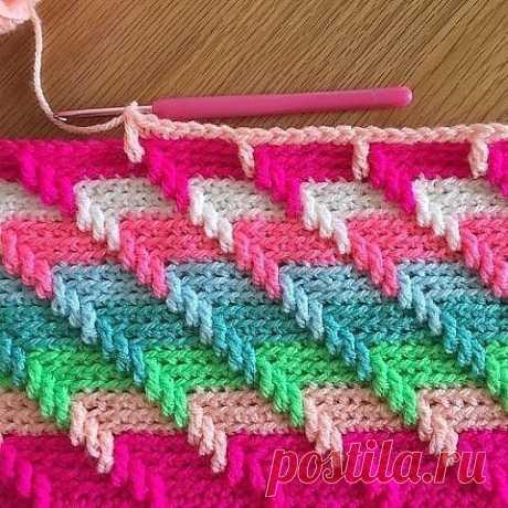 Многоцветный узор крючком (УЗОРЫ КРЮЧКОМ) – Журнал Вдохновение Рукодельницы