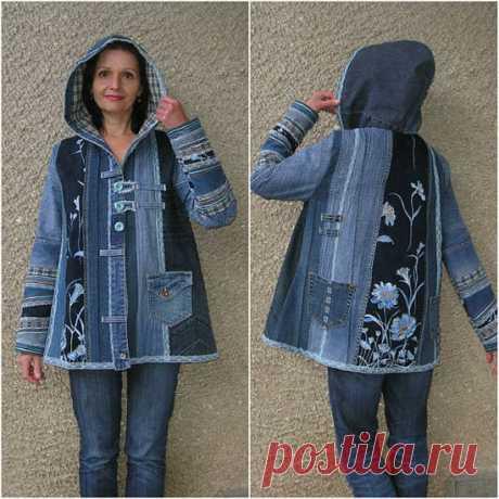 Джинсовая куртка в стиле пэчворк 3 варианта