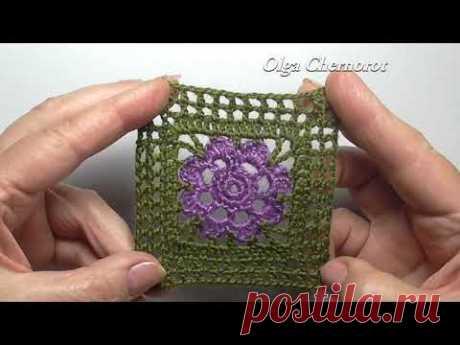 Square motif with sirloin mesh Квадратный мотив филейной сеткой