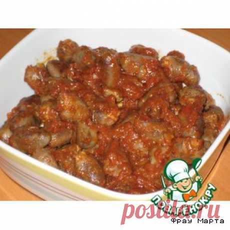"""Сердечки куриные в томатном соусе """"по-корейски"""" - кулинарный рецепт"""