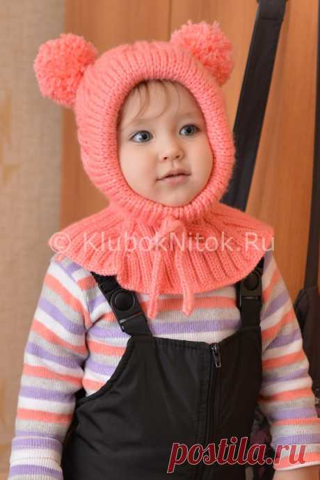 детская шапочка-шлем с двумя помпонами спицами. МК