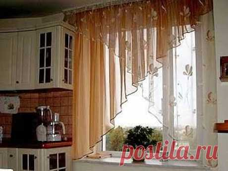 Curtains for kitchen the hands with patterns: a photo how to sew curtains, novelties, tailoring of a curtain of an arch, a master class, a video instruction