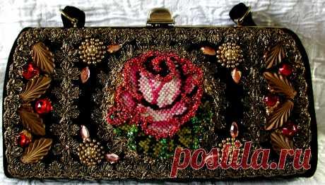 RESERVED For JM... Gorgeous Vintage Beaded & Needlepoint Rose