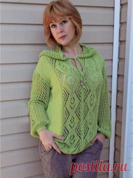Вязание крючком и спицами - Летний пуловер с капюшоном