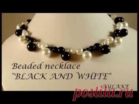"""Aylake - Beaded necklace  """"Black and white"""""""