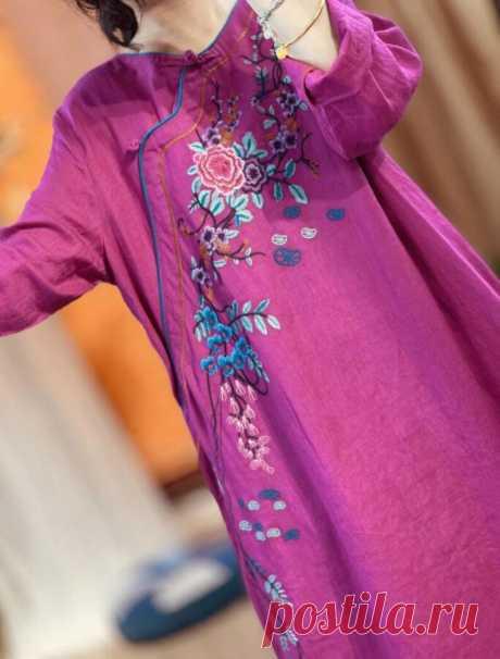 Linen longsleeved dress woman gown Linen robe Vintage   Etsy
