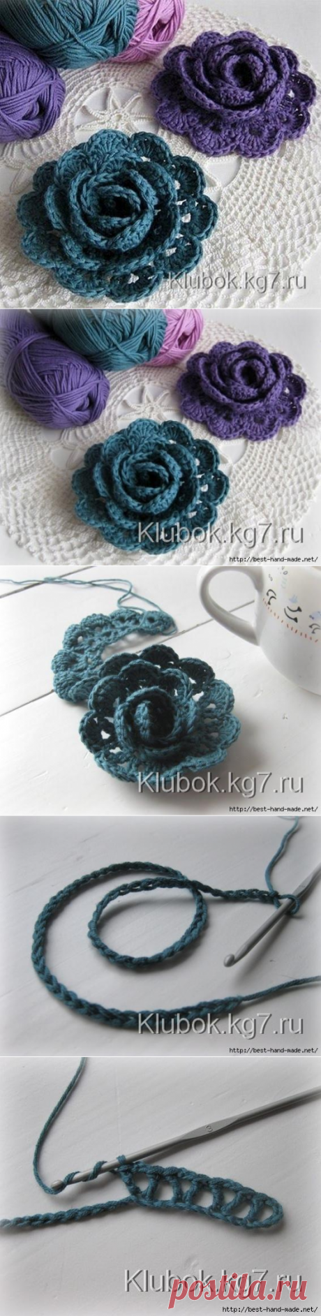 Цветы крючком от Ninuska, Голландия. Мастер-класс | Клубок