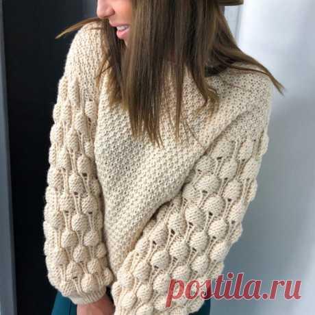 Вязаный пуловер с жемчужным узором, описание и схема